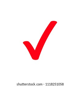 Red tick or marker checkmark vector icon for checkbox symbol