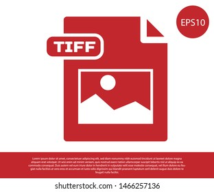 Red TIFF file document. Download tiff button icon isolated on white background. TIFF file symbol.  Vector Illustration