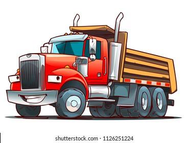 Red Tipper Truck or Dump truck.  Cartoon illustration