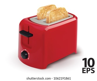 Red toaster with toasted bread for breakfast inside. isolated on White. Realistic vector 3d illustration.