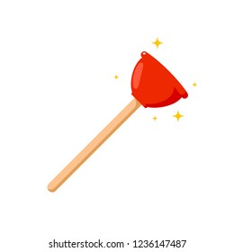 Red Toilet Plunger. Isolated Vector illustration