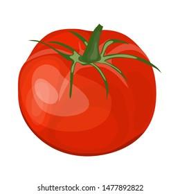 Red Tomato. Cartoon Glossy Design. Vector Illustration.