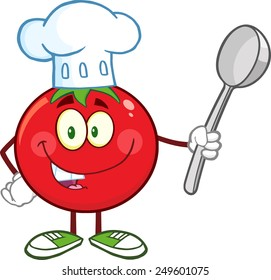 Red Tomato Chef Cartoon Mascot Character Holding A Spoon. Vector Illustration Isolated On White