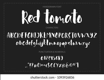Red tomato. Handdrawn ink brush font.