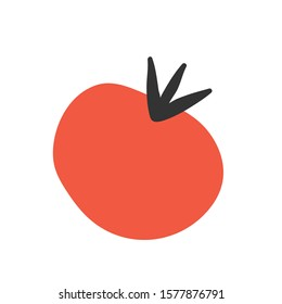 Red tomato, simple vegetable ingredient drawing, vector isolated modern illustration, icon or logo for farming market or menu, colorful cartoon doodle.