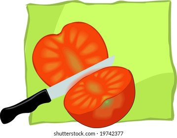 red tomato sliced and knife