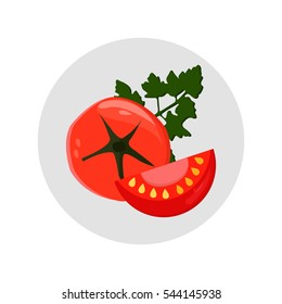 Red tomato. Vector illustration, eps10. A whole and a slice tomato isolated. Green parsley.