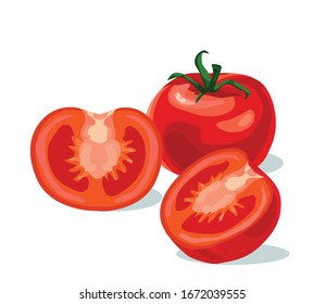 red tomatoes half cut three pieces cherry realistic symbol icon on white background