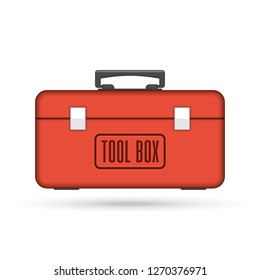 Red tool box in flat style. Construction toolbox icon isolated on white background. Set building tools for repair. Toolkit sign. Vector illustration EPS 10.