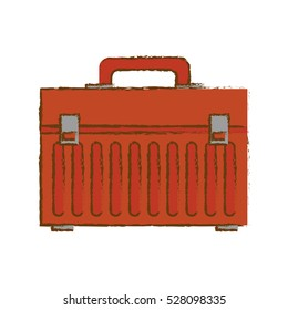 red tool box icon over white background. repair tools concept. sketch and draw design. vector illustration