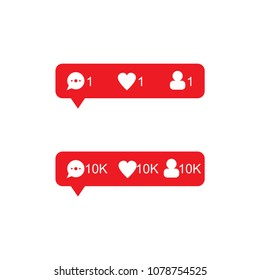 Red tooltip set about new comments, likes and subscribers. Vector illustration