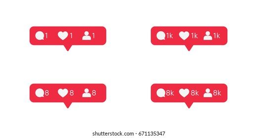 Red tooltip set about new comments, likes and subscribers. Vector illustration. Eps10 Vector. White background.