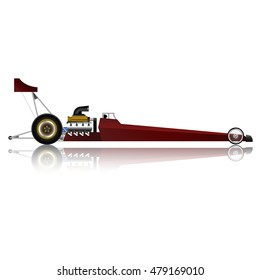 The red top fuel dragster car on white background.(EPS10 art vector)