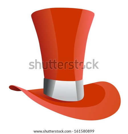 a7dda029e94 red top hat with white strip isolated on white background. vector