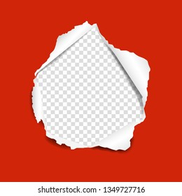 Red Torn Paper With Gradient Mesh, Vector Illustration