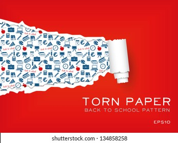 red torn paper with school pattern