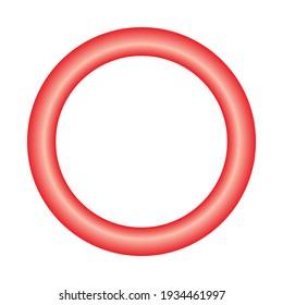 red torus basic simple 3d shape isolated on white background