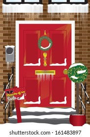 Red Townhouse Front Door Vector at Christmas with Santa Sign, Fairy Lights and Snow