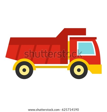 Red Toy Truck Car Icon Flat Stock Vector Royalty Free 625714190