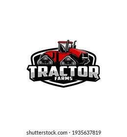 red tractor farming machine logo vector