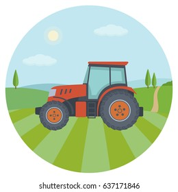 Red tractor on the farm field. Flat style, vector illustration.