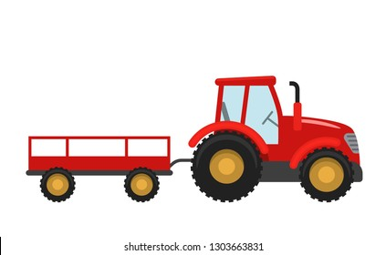 Red Tractor with trailer. Vector illustration in flat style isolated on white background. Heavy agricultural machinery for field work