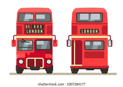 Red traditional London bus double decker. Vector flat