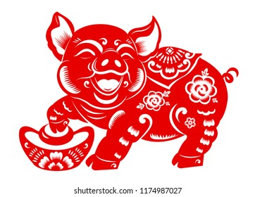 Red traditional paper cut zodiac year of pig with chinese ingot