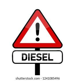 red traffic sign warning diesel emission scandal vector illustration EPS10