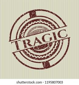 Red Tragic rubber grunge texture stamp
