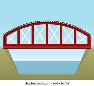 Red train bridge in side view and isolated on white background. Industrial transportation building. Metal bridge architecture. Vector railway bridge. Assembled riveted bridge construction.