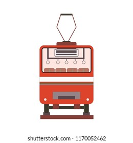 Red tram back view in flat style. Vector illustration