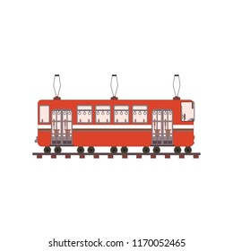 Red tram side view in flat style. Vector illustration