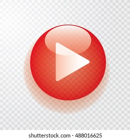 red transparent play button with shadow, vector icon