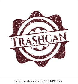Red Trashcan rubber seal with grunge texture