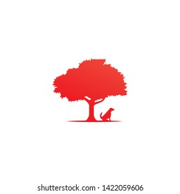 Red tree and dog logo icon.
