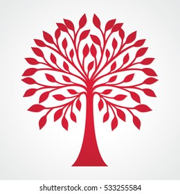 Red tree silhouette with round top. Decorative and simple stylized vector plant concept with leaves. Symmetrical family tree icon.