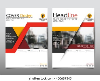 Red triangle annual report brochure flyer design template vector, Leaflet cover presentation abstract flat background, layout in A4 size
