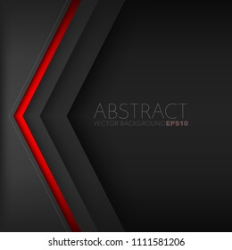 Red triangle background vector geometric element overlap layer on black space for text and background design