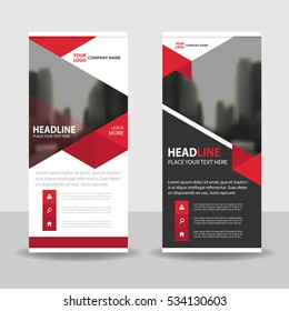 Red triangle Business Roll Up Banner flat design template ,Abstract Geometric template Vector illustration set, abstract presentation brochure flyer