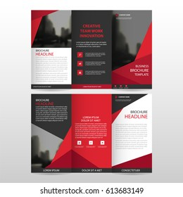 Red triangle business trifold Leaflet Brochure Flyer report template vector minimal flat design set, abstract three fold set