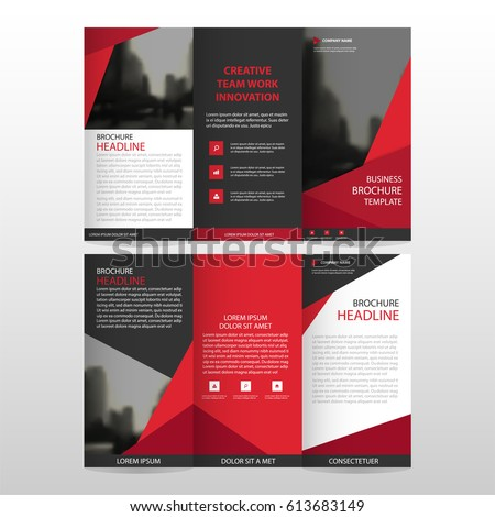 red triangle business trifold leaflet brochure のベクター画像素材