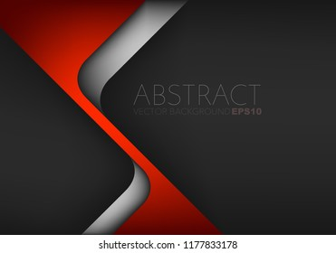 Red triangle geometric vector background overlap layer with silver line on black space for text and background design
