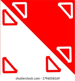 red triangle shape that covers half the plane white and a red square with a white center next to it and a white square with a red center right inside the triangle concept design