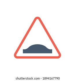 Red triangle speed bumps road sign  in solid black flat shape glyph icon, isolated on white background