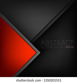 Red triangle vector background overlap layer on black geometric space for text and background design