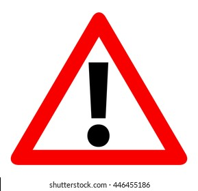 Red Triangle Warning Alert Sign Vector Illustration