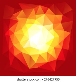 Red triangular explosion in a low poly style. EPS8 Vector