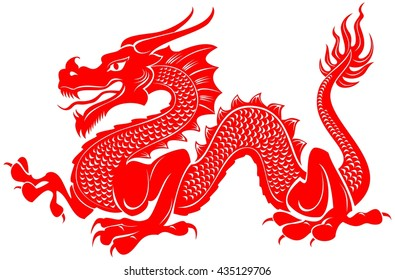 Red tribal dragon tattoo vector illustration. Paper cutout style.