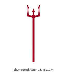Red trident isolated on white background. Devil, neptune trident. Cartoon style. Clean and modern vector illustration for design, web.
